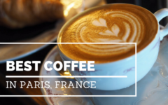 graphic that shows a cappuccino with double hearts poured into foam served in a delicate antique mug with saucer, over the photo are the words the Best Coffee in Paris, France