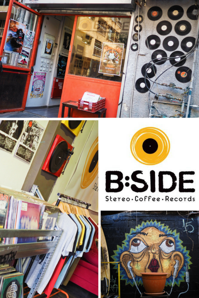 Pictures of the inside and outside of B Side Stereo Record Store in Tel Aviv