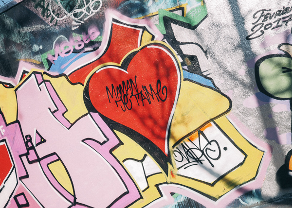 Paris Street Art - Red Heart on wall in Montmartre