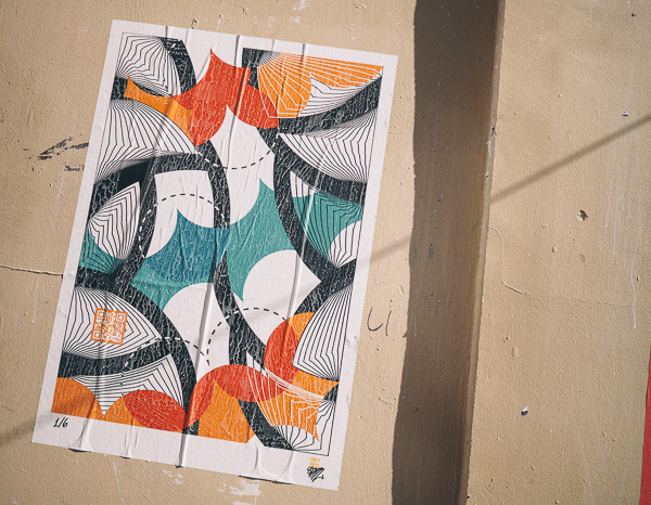Graphical Paris Street Art Poster with QR Code (unreadable) and Unknown Tag (SEM?)